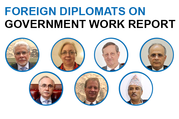 Foreign diplomats on Government Work Report:null