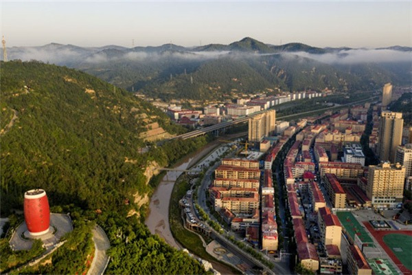 Aerial view of Ansai district of Yan'an, NW China's Shaanxi:null