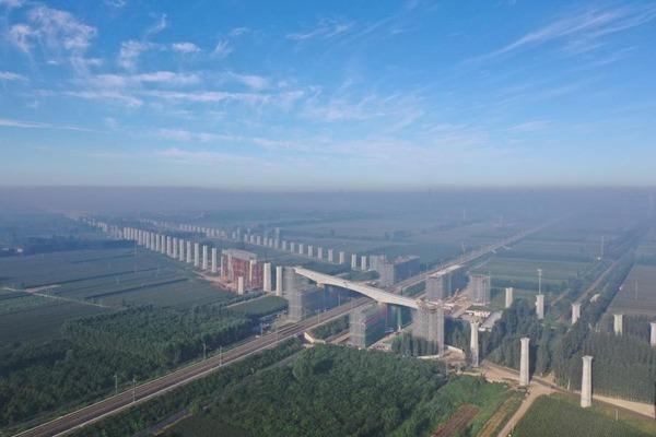 Swivel railway bridge of Beijing-Xiongan intercity high-speed railway rotated to targeted position:null