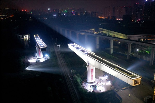 Hefei-Anqing high-speed rail bridge rotates successfully:null