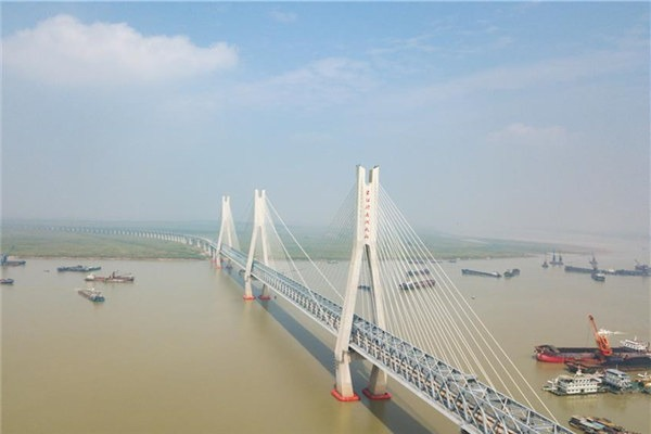 New bridge over Dongting Lake on Haoji Railway line in C China's Hunan:null