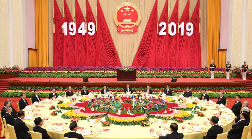 Xi stresses unity, striving for national rejuvenation at PRC anniversary reception
