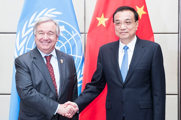 Premier pledges multilateralism in meeting with UN chief:null