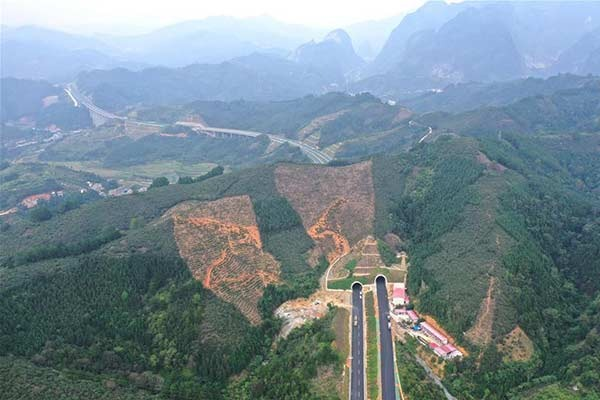 Aerial view of Leye-Baise Highway in South China's Guangxi:null