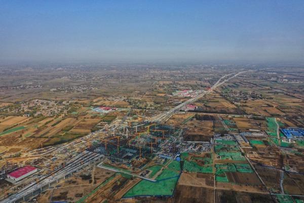 Xiongan Station of Beijing-Xiongan inter-city railway under construction:null