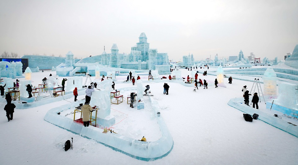 34th Harbin Intl Ice Sculpture Competition held in NE China:3