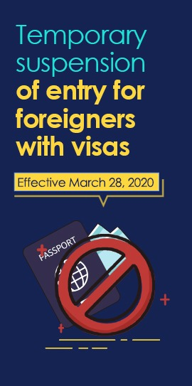 Temporary suspension of entry for foreigners with visas:0