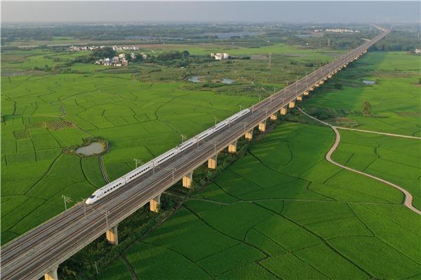 Bullet train runs above paddy fields in Gula township, Guangxi:0