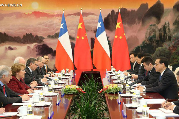 Premier Meets With Chilean President In Beijing